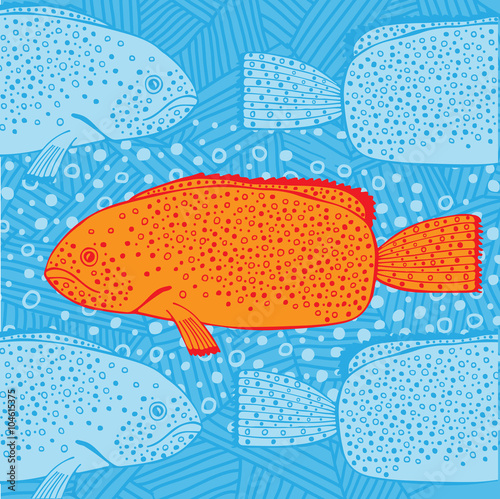 Plakat Illustration of fish swimming face to face with others in the ocean