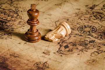 chess on old map