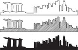 Free hand sketch of Singapore skyline. Vector illustration eps 10.