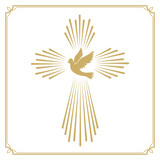 Cross with the dove. Church emblem template. Vector design eleme