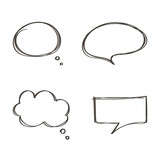Set of doodle, hand drawn speech bubbles set isolated on white background. - 104640309