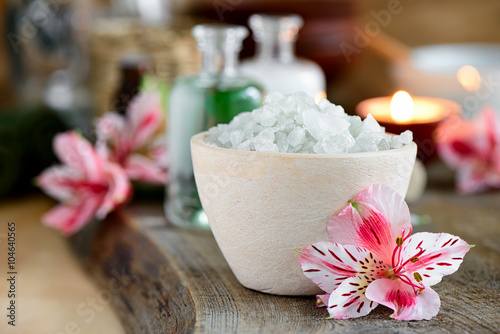 Juliste Spa setting decorated with purple flowers