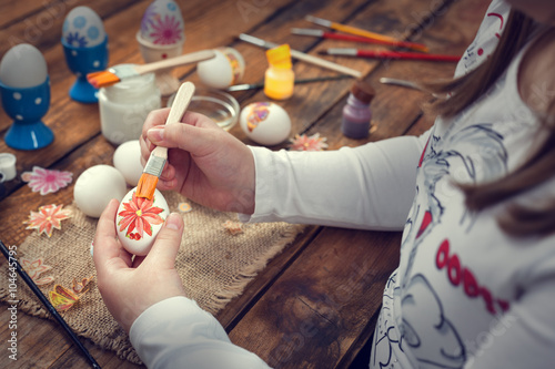 Zdjęcia na płótnie, fototapety, obrazy : Easter decoration , decoupage Easter eggs on rustic wooden background