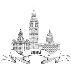 England label. Famous english city landmarks of London, Leeds, Liverpool Travel UK sign