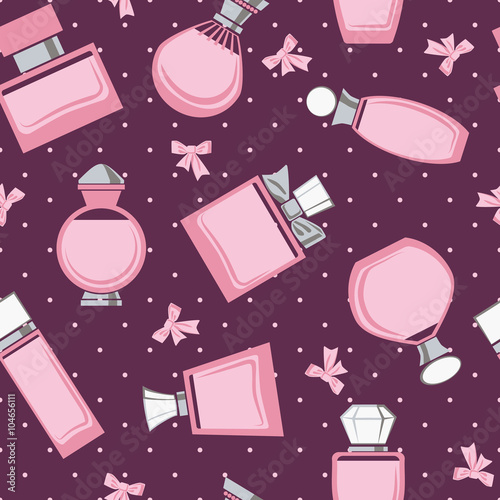 Cotton fabric Seamless pattern with perfume bottles