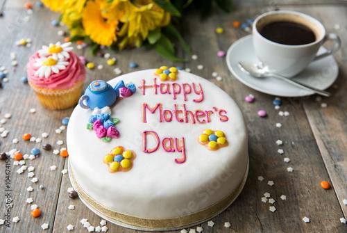 Poster Blumen, Kuchen und Cupcake zum Muttertag