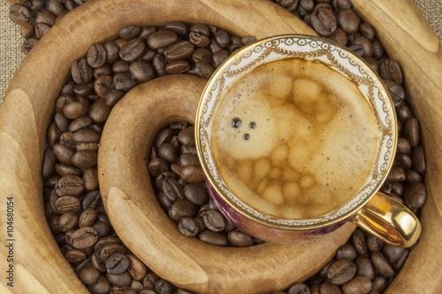 Morning hot espresso. Preparing a refreshing drink. Roasted hot coffee.