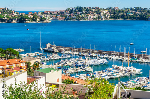 Aluminium Panoramic view of Villefranche-sur-Mer, Nice, French Riviera.