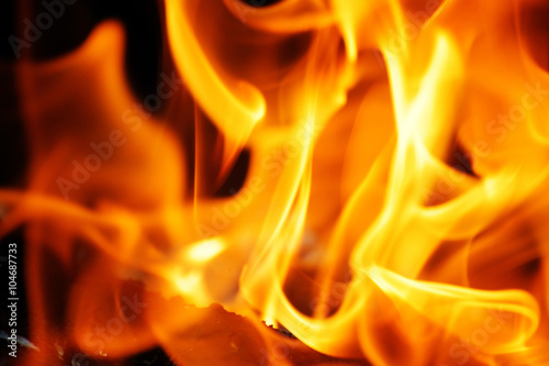 burning fire flame on the black background