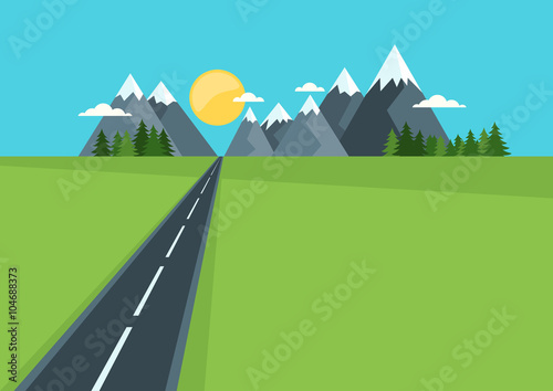 Foto op Plexiglas Turkoois Beautiful country highway in field and mountains. Rural nature, flat style illustration. Summer or spring green landscape background with space for text. Travel and safety traffic concept.