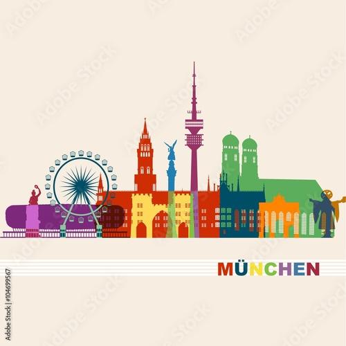 m nchen sehensw rdigkeiten bunte silhouette liebfrauenkirche stachus bavaria fernsehturm. Black Bedroom Furniture Sets. Home Design Ideas