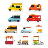 Fototapety Food Vehicles, Truck, Van, Pushcart, Color Set, Street Food and Fast Food