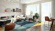 3D rendering of a modern living room - 104713904