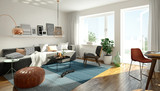 3D rendering of a modern living room - 104713904