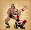 Постер, плакат: Combat de catcheurs Wrestlers fight Luchadores