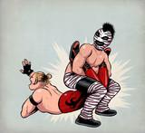 Combat de catcheurs. Wrestlers fight. Luchadores.