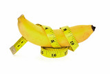 Banana and Yellow tape measure for The symbol of the penis size