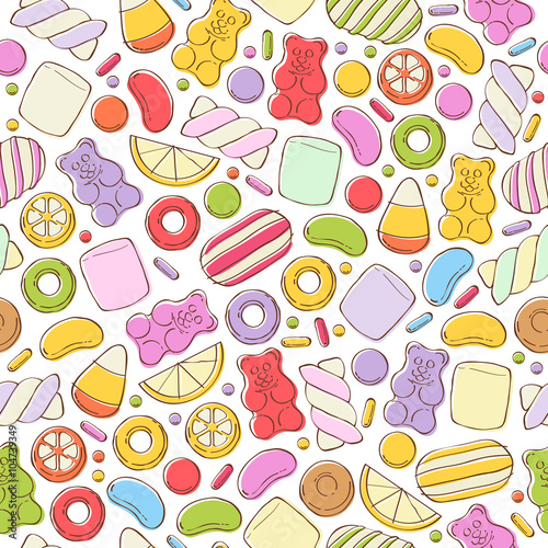 Fototapeta Colorful sweets pattern. Assorted candies.