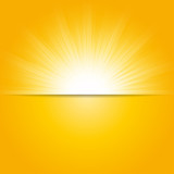 Bright sunbeams, shiny summer background with vibrant yellow & orange colors. - 104739903