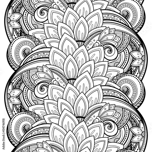 Vector Seamless Monochrome Floral Pattern © irinakrivoruchko