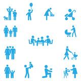 Набор семейных иконок. Фигурки людей.