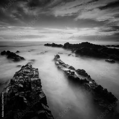 Long exposure and black and white image of Rocky Beach