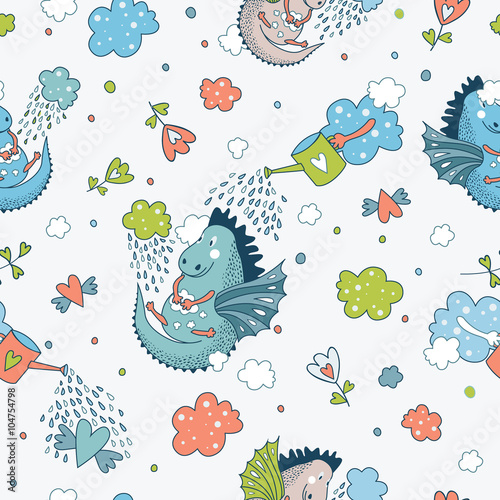 Cotton fabric Cute  funny vector  seamless pattern. hand drawn doodle des