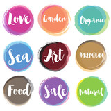 Fototapety Water colour style of retro label templates