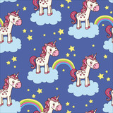 Cute seamless pattern with unicorn. Vector childish background can be used for wallpapers, pattern fills, web page backgrounds,surface textures.