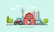Farming background with barn, windmill, tractor and cows. Organic products, farm fresh products concept. Vector illustration.