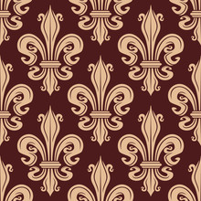 Brown and beige seamless fleur-de-lis pattern