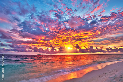 Colorful sunset over ocean on Maldives Poster