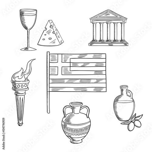 Zdjęcia na płótnie, fototapety, obrazy : Traditional Greece symbols and culture objects