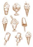 Ice cream desserts sketches set