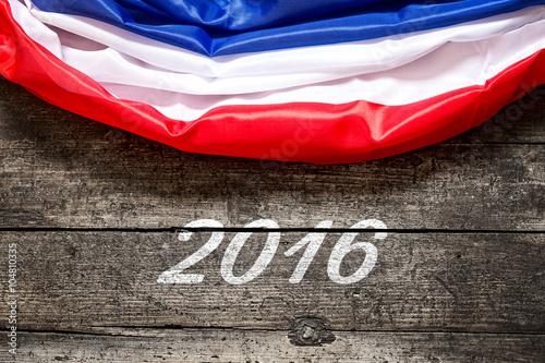Poster Flagge Frankreich mit Datum 2016, Konzept Fussball Europameister