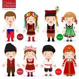 Kids in different traditional costumes (Ukraine, Poland, Bulgari