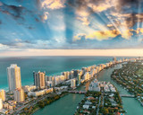 Fototapety Wonderful skyline of Miami at sunset, aerial view