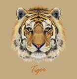 Vector Illustrative Portrait of a Tiger.
