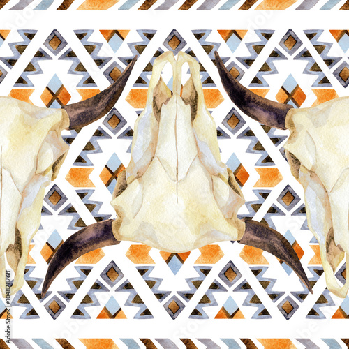 Geometrical ethnic seamless pattern with cow skull - 104828768