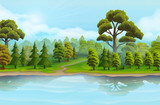 River and the forest, nature landscape, vector background