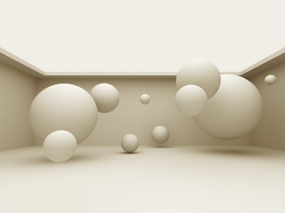 Abstract 3d Different Spheres Background