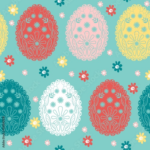Materiał do szycia Cute vector seamless pattern with easter eggs.