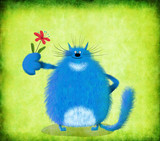 Big Blue Standing Cat With Small Flower