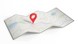 Map with red pointer set, isolated on white background.