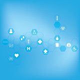 Abstract molecules medical background .