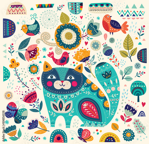 Fototapeta Vector colorful illustration with beautiful cat, butterflies, birds and flowers