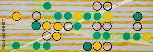 A long thin grid painting on a background of irregular yellow stripes - 104861517