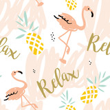 Blush pink flamingo, pineapples and message Relax on the white background with pastel strokes. Vector seamless pattern with tropical bird and fruit. - 104861985