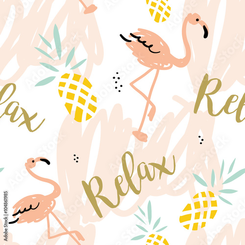 obraz lub plakat Blush pink flamingo, pineapples and message Relax on the white background with pastel strokes. Vector seamless pattern with tropical bird and fruit.