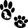 Постер, плакат: Силуэт лапа животного лапа кошки лапа собаки